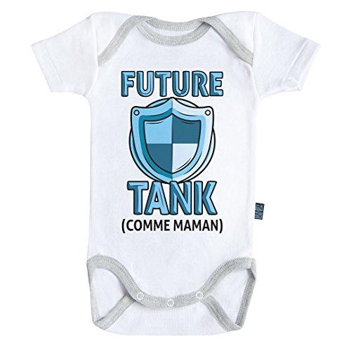 Baby Geek Future Tank comme Maman (Version Fille) - Body Bébé Manches Courtes - Coton - Blanc - Coutures Grises (12-18 Mois)