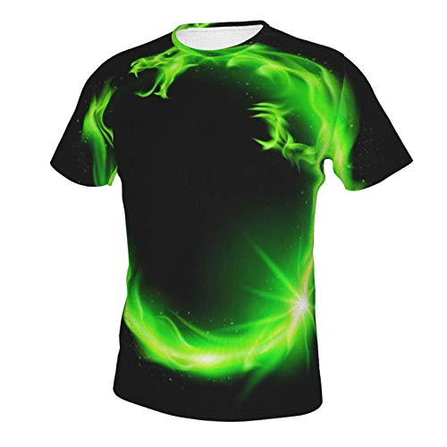 MayBlosom Novelty Short Sleeve Shirt Tops for Mens Boys Youth, Extended Sizes Green Fire Flame Dragon Black (1) M