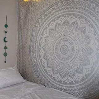 Popular Handicrafts Hippie Mandala Ombre Tapestry Wall Hanging - Indian Maditation Silver Gypsy Bohemian Hippy Psychedelic Dorm Room Decor Poster 30 x 40 Inch