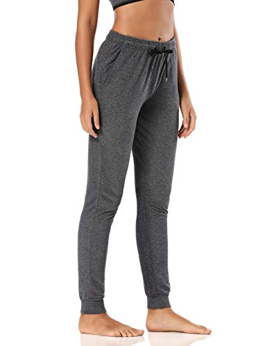 Safort 34' Inseam Regular Tall 100% Cotton Casual Workout Sweatpants with 3 Pockets, Yoga Joggers Pants, Tapered Lounge Cuff Cropped Pants, Dark Grey S