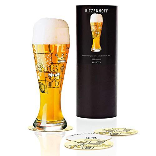 RITZENHOFF Weizen Weizenbierglas von Potts, aus Kristallglas, 500 ml, mit fünf Bierdeckeln
