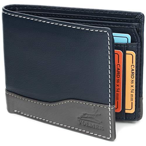 Fa.Volmer ® Ledergeldbörse Echtleder Querformat mit RFID-Schutz Slim Design Manhattan Serie #MW114 (blau Navy/grau)