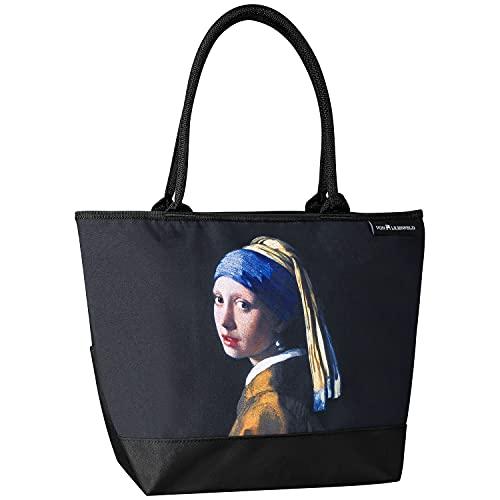VON LILIENFELD Handtasche Jan Vermeer Mädchen mit Perlenohrring Damen Shopper Maße cm L42 x H30 x T15 Strandtasche Henkeltasche Büro Kunst Motiv
