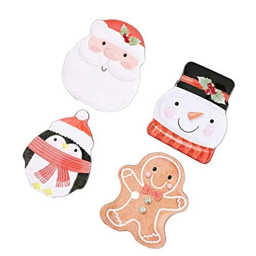 DOITOOL 4 st jul plåt presentlådor jultomte snögubbe form kakburk godis förvaringsglas dekorativ teburk för godsaker choklad party njutning