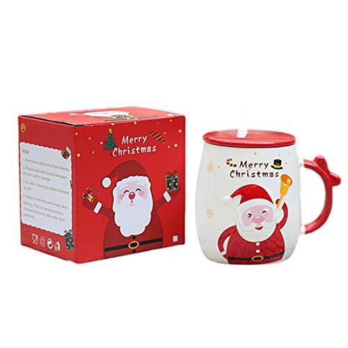qingfeitai Tassen Aus Keramik In Rot - Ca. 420 Ml, Fun Santa Claus Kaffeetasse Mit Deckel Löffel, Spülmaschinenfest
