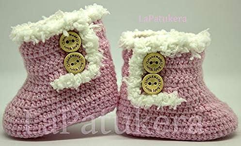 Patucos para bebé de crochet, Unisex. Estilo botas Canadá de color a elegir, realizadas en lana, tallas de 0 hasta 9 meses, hechos a mano en España. Regalo para bebé.