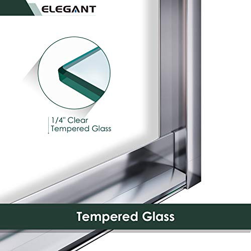 ELEGANT 58.5-60 in. W x 57 3/8 in. H Bypass Sliding Bathtub Glass Doors, Semi-Frameless Shower Door with 1/4 in. Clear Tempered Glass, Chrome Finish