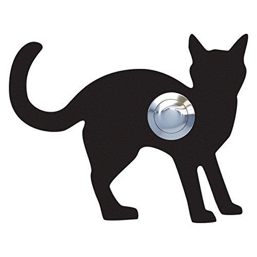 Belknop, design bel, deurbel roestvrij staal gepoedercoat kat, Leo'' zwart - Bravios