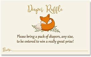 Fox Diaper Raffle Tickets Baby Shower Woodland Orange Foxes Gender Neutral Boy Girl Orange Rustic Forest Friends Gift Basket Drawing Wipes (25 Pack)