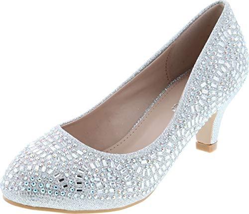 Forever Link Jemma-31 Womens Kitten Heel Jeweled Rhinestone Slide Slip On Pump Shoes,Silver,8.5