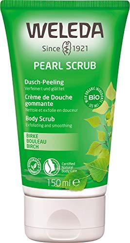 WELEDA Pearl Scrub Dusch-Peeling Birke - schonendes Naturkosmetik Duschgel Körper Peeling für spürbar seidig glatte Haut und eine stärkere Durchblutung (1 x 150 ml)