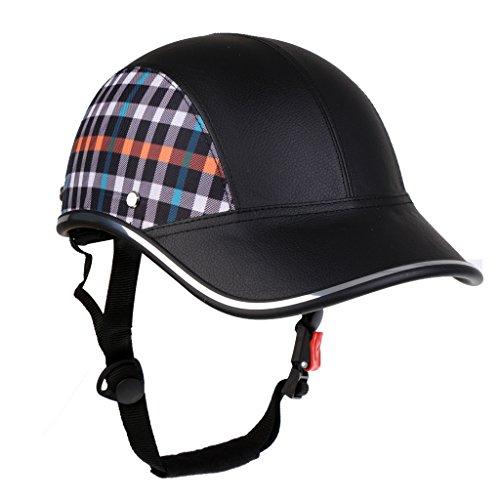 Motorradhelm Sommer Baseball Cap Schutzhelme Tropenhelm Fahrradhelm für Damen Herren - Schwarz mit Muster