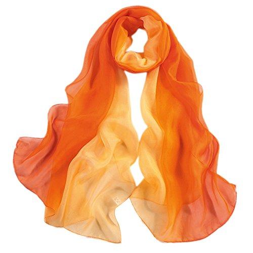 Honeystore Damen 2017 Neuheit Fashion 100% Seide Chiffon Langer Farbverläufen Schal, 180 * 70 CM Orange und Gelb