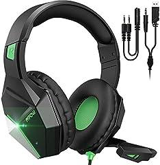Mpow EG10 Auriculares Gaming para PS4, PC, Xbox One, Switch, Mac, Cascos da 3,5 mm Jack con Micrófono Cancelación de Ruido, LED Cascos Gamer con Bass Surround, Diadema Acolchada y Ajustable