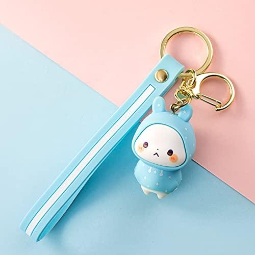beizi Lindo conejo muñeca llavero colgante personalidad creativa anillo de cadena de coche un par de simple pareja kawaii bolsa adornos regalo niña (color: A)