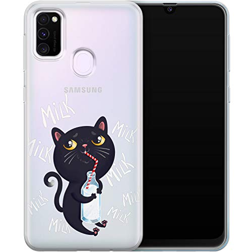 Vonna Phone Case for Samsung Galaxy A20e A91 5G A11 A80 A70 A50s A30 A51 Black Baby Cat Lightweight Kawaii Flexible Animal Design Cute Feline Smooth Milky Cover Drinking Soft Print Slim fit a436