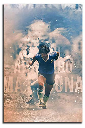 MRFSY Football Superstar Maradona Wall Art Oil Painting 3D Oil Painting on Canvas Hand Painted Abstract Wall Art 16'x24'