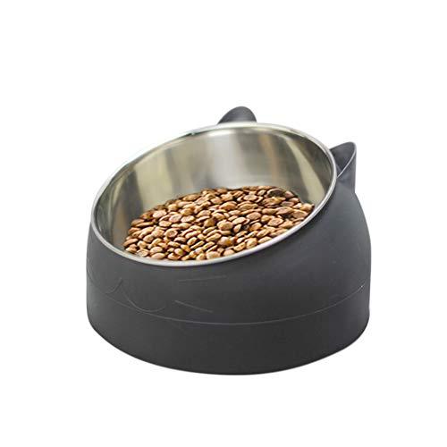 DIKOPRO Tilted Pet Bowl, Pet Tilted Feeder, Stainless Steel Pet Cat Bowl, Cat Food Bowl, Cat Feeding Bowl, Cat Water Bowl, Multi-Purpose Pet Feeding Bowl, for Pet Food and Water Feeder(Black)