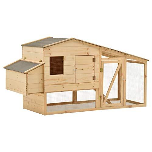 vidaXL Bois de Pin Solide Poulailler Cage pour Poulets...