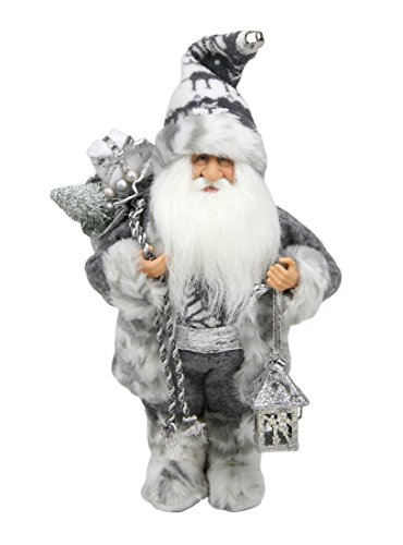 """Northlight Alpine Chic Standing Santa Claus in Gray/White with A Bag and Lantern Christmas Figure, 12"""""""