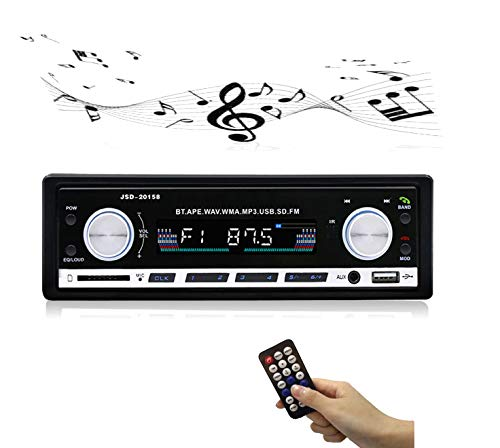 Car Stereo Receiver Radio with Bluetooth,Single Din for Car Amplifier,Dual Knob,Car Audio USB/SD/AUX/MM Card/MP3/WMA/APE/FLAC/WAV Music Format,Hands-free Calling FM Reception,with Wireless Remotioon