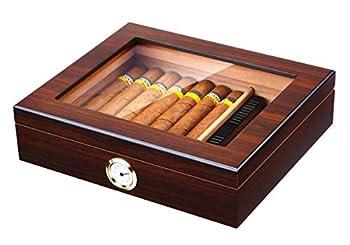 Handmade Cigar Humidor Cedar Cigar Desktop Box with Humidifier and Hygrometer Glass Top for 25 Cigars  20-25 Cigars