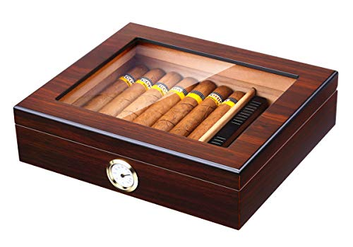 Handmade Cigar Humidor, Cedar Cigar Desktop Box with Humidifier and Hygrometer, Glass Top for 25 Cigars (20-25 Cigars)
