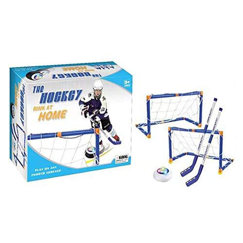 Sanmubo Trading Kids Hockey-Zielsatz, E-Hockey mit LED-Beleuchtung, perfekt für Indoor-Bodenhockey und Knie-Hockey - Enthält 2 verstellbare Hockeyschläger, 2 Knie-Hockey-Ziele und 1 Hockeyball