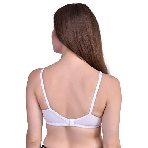 NMDK Women's Soft Cotton Non-Padded, Non Wired Full Coverage Bra – Cream,Women's Cotton T-Shirt Bra Combo Pack of 3 Seamless Cup Cotton Blend Bralette Bra (42B)