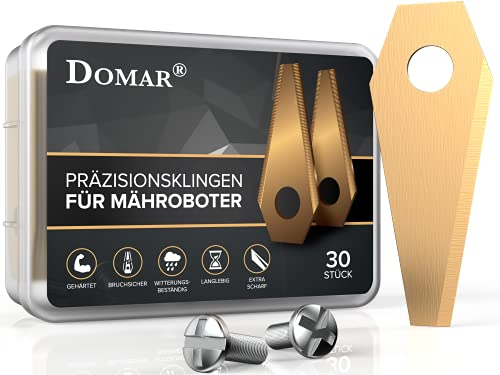 Domar® - gehärtete Ersatzmesser + Schrauben für Ihren Bosch Indego Mähroboter - longlife Titan Messer für Rasenroboter - Ersatzteile Rasenroboter - Ersatzklingen [30 Stück] (30)