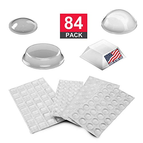 Adhesive Rubber Bumper Pads: Cabinet Door Bumper, Sound Dampening and Non-Skid Feet for Electronics, Drawers, Picture Frames, Cutting Boards, Clear, 84-PCs by Volarium