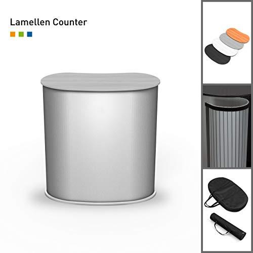 Lamellen Counter | ✓ Lamellentheke | ✓ Messetheke | ✓ Promotiontheke | ✓ Verkaufstheke von Vispronet® (Silbergrau, Oval)