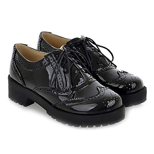 MIOKE Women's Two Tone Flat Oxfords Shoes Lace Up Wingtip Perforated Low Heel Vintage Saddle Oxford Brogues Black
