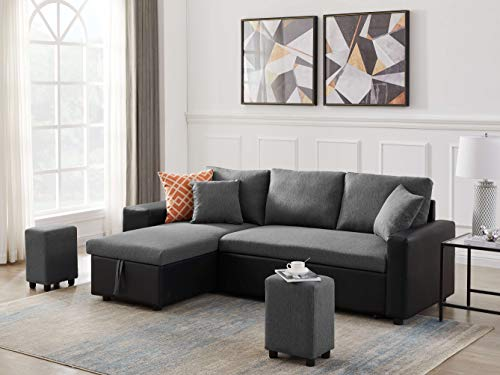"""Yaocheey 92.5"""" Linen Reversible Sleeper Sectional Sofa with Storage and 2 stools Gray"""