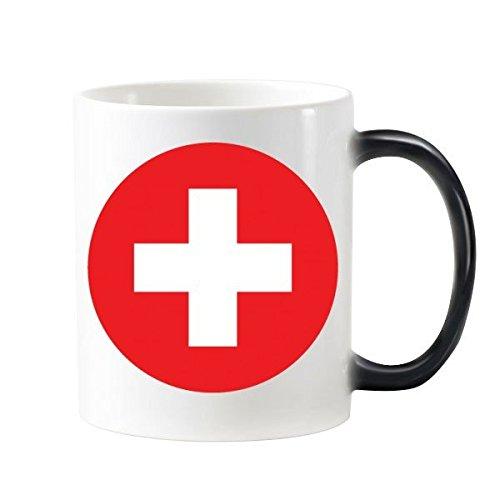 Schweiz nationalen Flagge Europa Country Symbol Mark rund Muster 'wärmeempfindliche Farbwechsel Farbe Tasse Milch Kaffee mit Griffe 350ml