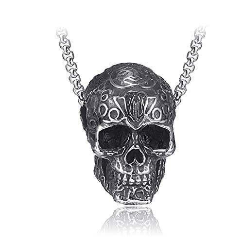 MINGDIAN Collar de Cabeza Fantasma Piercing de Hip-Hop Collar de Acero de Titanio Antiguo Europeo y Americano Collar de Acero Inoxidable para Hombres de Moda Colgante de Calavera