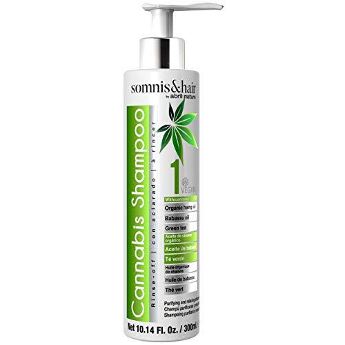 Somnis&Hair by abril et nature | CANNABIS SHAMPOO 300ml. | Champú Detox, relajante y antiestrés | Hidratación, nutrición y brillo para el cabello | Vegano | Con aceites de cannabis sativa orgánicos