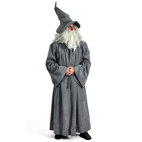 Elbenwald Kostümset Zauberermantel mit Gürtel für Herr der Ringe Fans im Gandalf-Stil 2-teilig grau