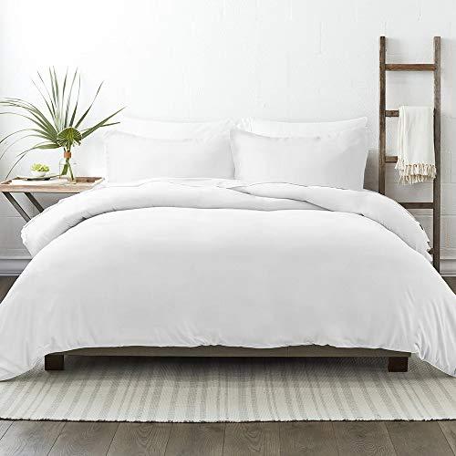 NIERBO - Juego de cama de 3 piezas, funda nórdica de 240 x 260 cm con 2 fundas de almohada de 65 x 65 cm, color blanco, 120 g/m2
