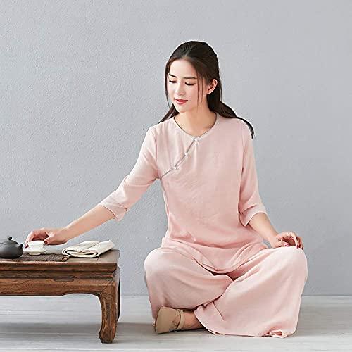 DFBGL Ropa de Tai Chi Hombres, Mujeres Mujeres Traje de meditación Zen Uniforme de Tai Chi Ropa de Kung Fu Chino Traje de algodón y Lino Ejercicio de Yoga Taekwondo, 3, L