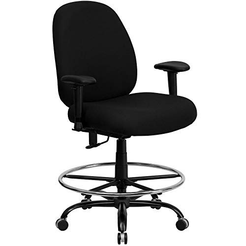 Flash Furniture HERCULES Series Big & Tall 400 lb. Rated Black Fabric Ergonomic Drafting Chair with Adjustable Back Height and Arms