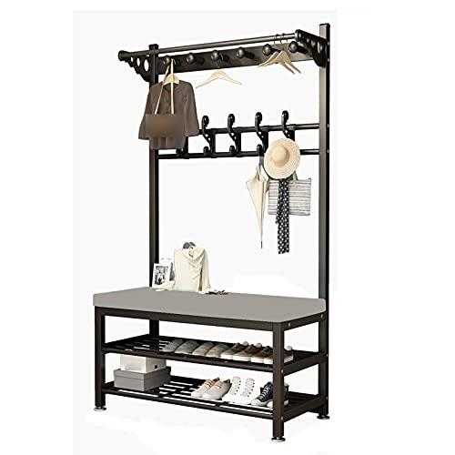 LM-Coat rack XINGLL Percheros Pie Perchero, Almacenamiento Portátil Ropa para Zapatos con Asiento, Mantenga Los Artículos De Su Bolso Organizados, Ideal para El Pasillo Entrada Dormitorio