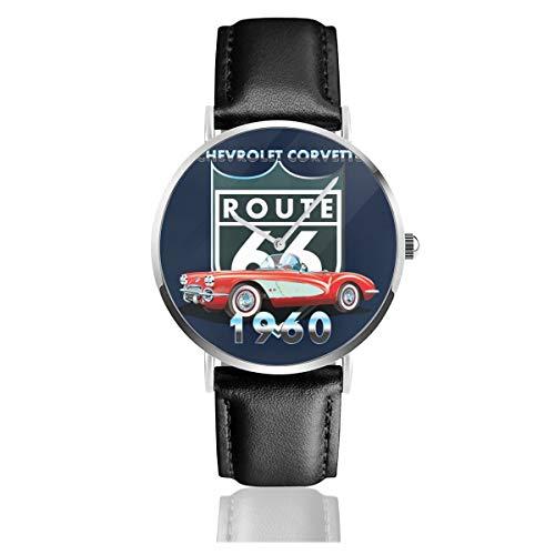 Unisex Business Casual Chevy Corvette Route 66 1960 Uhren Quarz Leder Uhr mit schwarzem Lederband für Männer Frauen Junge Kollektion Geschenk