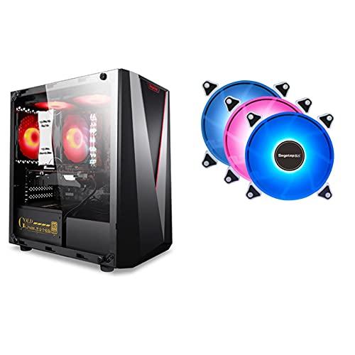 Caja De PC, Caja ATX, Caja Principal Mini Lateral Transparente A Prueba De Polvo Y Silenciosa Gaming MATX, Especificaciones De La Placa Base De Soporte: M- ATX/ITX (Size : with 3 Fans)