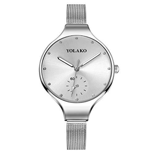 Powzz ornament Reloj de pulsera de cuarzo con esfera grande, correa fina, esfera cepillada, placa blanca, cinturón de plata.