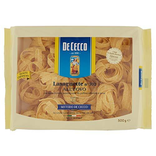 De Cecco Lasagnette Uovo Nidi - 1 Confezione da 500 gr - [confezione da 10]