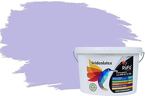 RyFo Colors Seidenlatex Trend Blautöne Flieder 12,5l - bunte Innenfarbe, weitere Blau Farbtöne und Größen erhältlich, Deckkraft Klasse 1