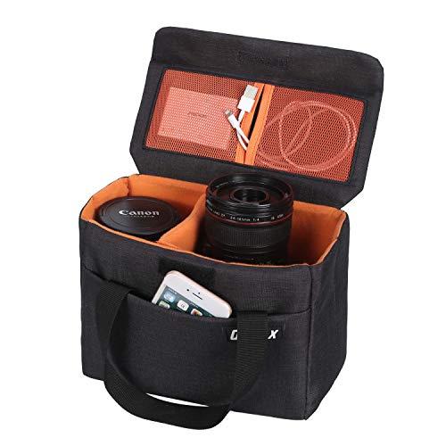 BAGTECH DSLR SLR Custodia per Macchine Fotografiche Borsa Fotografica antiurto con Divisori staccabili per Nikon Canon Fuji Olympus Sony (nero)