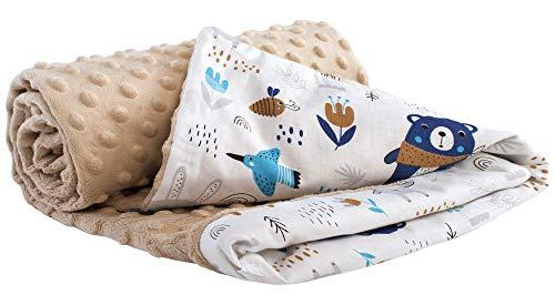 Medi Partners Krabbeldecke 100% Baumwolle 75x100cm doppelseitig multifunktional Minky Kuscheldecke für Kinderwagen weich flauschig (Boho Animals mit beige Minky)