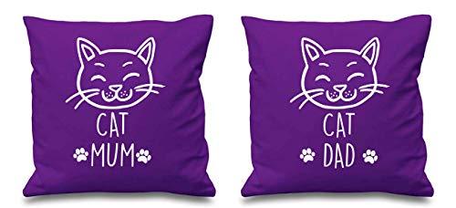 Housses de coussin violettes avec inscription « Cat Mum Cat Dad » pour couple, pour Saint-Valentin, anniversaire de mariage, petit ami